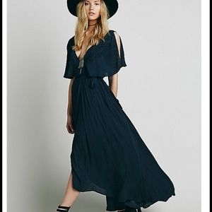 Free people navy blue wrap dress!